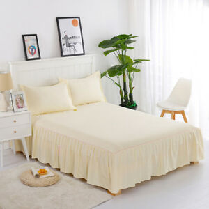 """Premium Valance Bed Sheet Queen Size Plain Dyed with 16"""" Dust Ruffle Beige"""