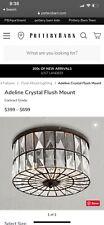 "New~Pottery Barn Adeline Crystal Flush Mount Flushmount 12.5"""