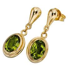 Damen Ohrhänger oval 585 Gold Gelbgold 2 Peridote grün Ohrstecker Ohrringe