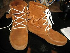 Minnetonka Brown Suede Fringed Boots Size 9