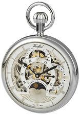 Reloj de Bolsillo Chapado en Plata de ley Woodford Abierta Cara Movimiento Esqueleto 1050