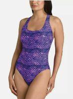 NWT Speedo Womens sz 12 One-Piece Ultraback Swimsuit Swimwear Purple Suit