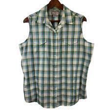 Wrangler Wrancher Sleeveless Pearl Snap Button Shirt Size XL