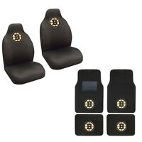 New NHL Boston Bruins Car Truck Seat Covers & Front Back Carpet Floor Mats Set