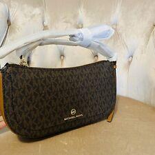 NWT Michael Kors Camden Brown XS Small Pouchette Bag Handbag Brown Signature New
