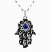 Hamsa Fatima Hand Anhänger mit Davidstern und blauen Stein Kette. Tibetsilber.