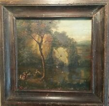 Painting of Gustave Courbet by French Barbizon Poet Auguste Fajon Oil Landscape