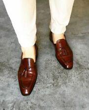 Handmade Men's Brown Leather Moccasins Formal Tassels Loafers & Slip Ons Shoes