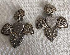 "Victorian Style 4 Hearts Dangle Clip On Heart Earrings 3"" Stunning"