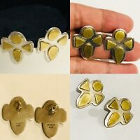 VINTAGE MEXICO STERLING SILVER BRASS PIERCED EARRINGS SIGNED