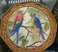 """A Hand Painted Pacific Rim China 9 1/8"""" Plate with Parrots colorful beautiful co"""
