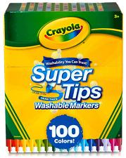Crayola 100 COLORS SuperTips Washable Markers BIG BOX Art Crafts Draw Super Tips