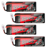 4X 5200mAh 80C 7.4V 2S LiPo Battery Hardcase Deans for RC Car Truck Truggy Boat