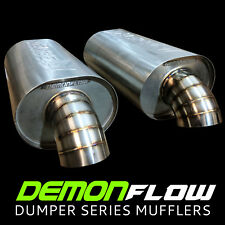 "Offset. 2.5"" Demon Flow 304 SS Muffler by Reaper Engineering 7.87x6 Body."