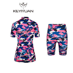 Women's Cycling Wear Kit Reflective Jersey and Padded Shorts Set Camouflage Pink