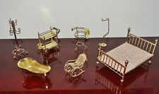 Lot of 7 Vintage GOLD-TONED Dollhouse Bedroom Bath Furniture Accessories (#4)