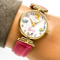 Fossil Barbie Womans Watch 35th Anniversary Gold Pink Leather Limited Working