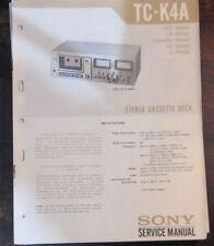 Sony TC-K4A cassette deck service repair workshop manual (original copy)