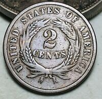 1864 Two Cent Piece 2C Ungraded Good Date Civil War Era US Copper Coin CC6578