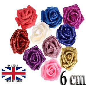 Fully Glittered 6cm Foam Roses head | Shiny 6cm Artificial Foam Flowers UK