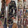 Womens Vintage Printed Cotton Coat Ladies Jacket Cardigan Suit Open Front Blazer