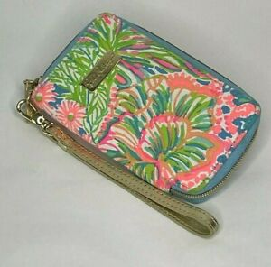 Lilly Pulitzer Wristlet Palm Tree Tropical Floral Zip Gold Metallic Strap Wallet