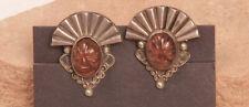 """Taxco Sterling Silver Igualerro Screwback Earrings 1"""" c.1940"""