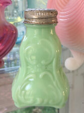 Antique VICTORIAN Pastel OPAQUE Jadite Green SHAKER Salt FILIGREE Design EAPG