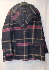 NEW WOMENS PLUS SIZE 4X NAVY BLUE FAUX WOOL PLAID DOUBLE BREASTED PEACOAT JACKET