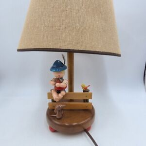 Vintage Nursery Plastics Inc Wood Lamp Boy Fence Flute Bird Dog Shade Brown