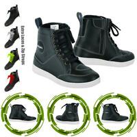 Black Motorcycle Boots Motorbike Sneaker Shoes Touring Boot Leather Waterproof