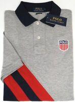 NEW $89 Polo Ralph Lauren Short Sleeve Classic Fit Mesh Shirt Mens Gray Red Navy