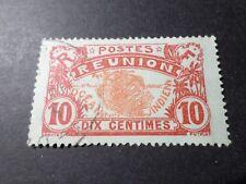 REUNION, 1922, timbre CLASSIQUE 86, CARTE de L ILE, oblitéré, VF used STAMP