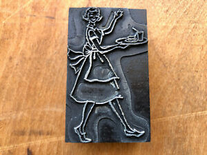Antique Printing Block 1950s woman in apron waving carrying tray of food & drink