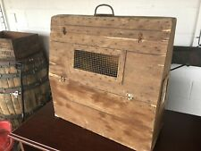 Unique Amish Made Farm Primitive 1800's Large Wood Pigeon Bird Carrying Box