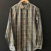 L.L. BEAN Mens Long Sleeve Blue Beige Plaid Button Down Shirt sz M Medium