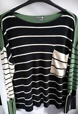 Anthropologie Striped Ladies blue cream Jumper Size Large Cl6