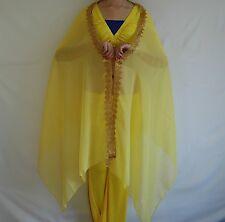 India Belly Dance Chiffon veil Golden Line Trim Scarves head Veil - Gold Color