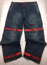 "Marithe+Francois Girbaud Letter Shuttle Tape Baggy Jeans sz 42M (34"" Ins) #2102"