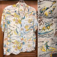 VINTAGE 1950'S FLORIDA ATOMIC PATTERN RAYON HAWAIIAN ROCKABILLY SHIRT - S