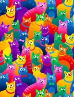 Fabric Cats Rainbow Bright Packed on Cotton TIMELESS TREASURES  1/4 Yard 8051