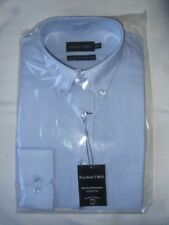 2 x DOUBLE TWO LONG SLEEVED OXFORD STYLE SHIRTS BLUE SIZE 15.5 COLLAR BRAND NEW