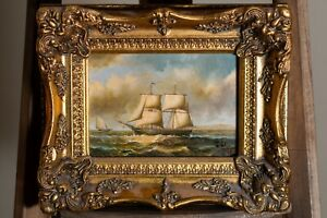 Antique Old 1800s Signed J.W Oil Painting Seafaring Ship Biggs & Sons Framed Art