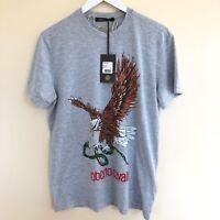 Roberto Cavalli $195 NWT Tee Shirt Man Eagle Snake Graphic Knitted  Grey L