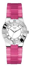 NEW Guess W95087L1 Women's Analog Watch White/Silver Dial Pink Silicone Band WR