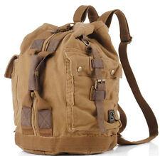 Mens Vintage Canvas Leather Travel Rucksack Military Backpack Satchel Laptop Bag