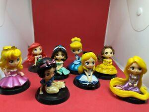 8pcs Disney Princess Mini Dolls Resin Character Figures Toy 6cm Cake topper