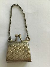 Beautiful Vintage miniature 5cm handbag for miniature fashion doll, opens.