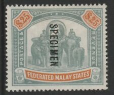 084 MALAYA FMS 1900 $25 opt'd SPECIMEN fine mint about  750  produced