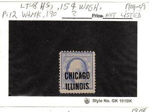 JimbosStamps, U.S .precancels 1908-09 issue 15 cent Washington, p.12, no bars